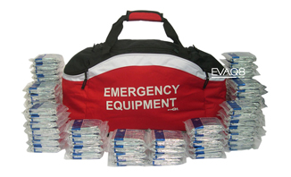 Standard Emergency Holdall with 200 Foil Survival Blanket, elegant and effective storage; site safety, evacuation, health and safety | Foil Survival Blankets, standard and bespoke Emergency Kits from EVAQ8.co.uk the UK's emergency preparedness specialist