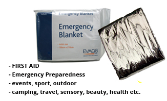 Foil Survival Blankets first aid & prevention of shock and hypothermia | Foil Survival Blankets, standard and bespoke Emergency Kits from EVAQ8.co.uk the UK's emergency preparedness specialist