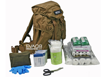 Mobile Response First Aid Medical Kit in Tan Backpack - tactical medical kit including foil survival blankets | Foil Survival Blankets, standard and bespoke Emergency Kits from EVAQ8.co.uk the UK's emergency preparedness specialist